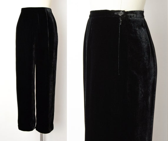 1990s Rayon Silk Velvet Trousers Size Small 90s Vi