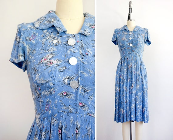 1940s Abstract Print Dress Size Small 40s Day Dres