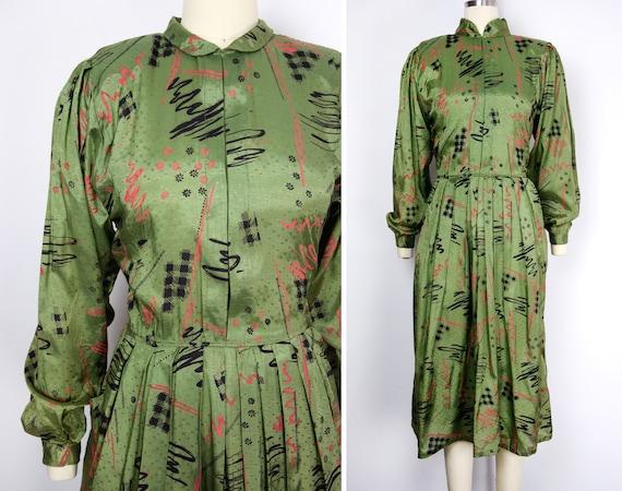1980s Olive Green Dress Size Medium Abstract Print