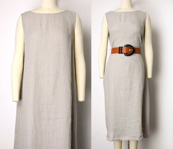 1990s Irish Linen Dress Size XL Oatmeal Linen Shif
