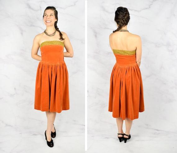 1940s Velvet Party Dress with Heart Themed Saffron