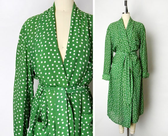 1940s Rayon Robe Size XL Green Polka Dot 40s Cold