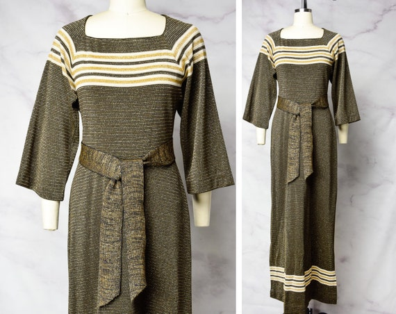1970s Gold Lurex and Stripes Gown Size Medium - Me