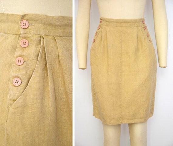 1990s Linen Sailor Skirt Size Small Khaki Linen Mi