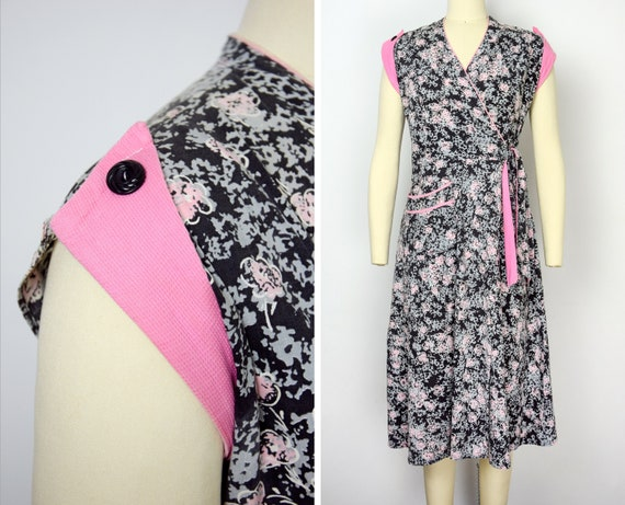 1940s Novelty Print Wrap Dress Size XS - Small Cot