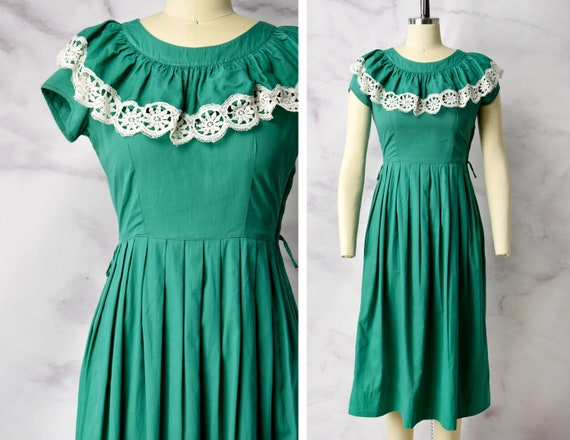 1940s Teena Paige Cotton Day Dress in Emerald Gree