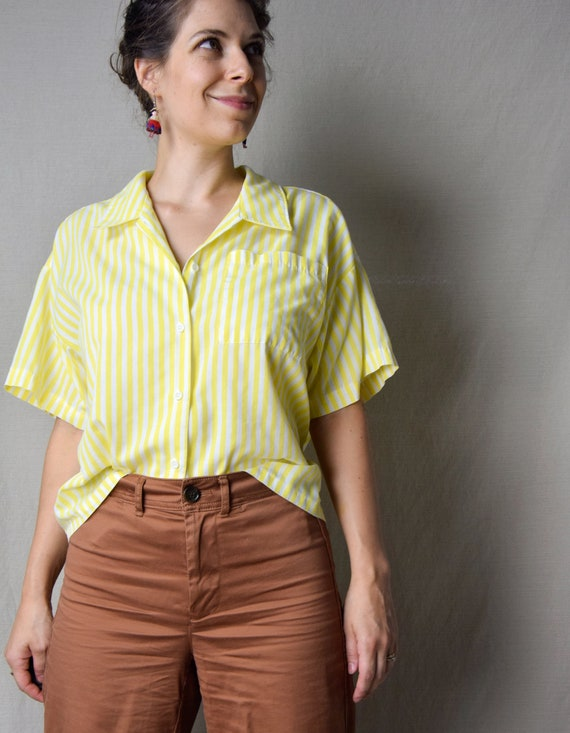 1980s Yellow and White Striped Oversized Button Up