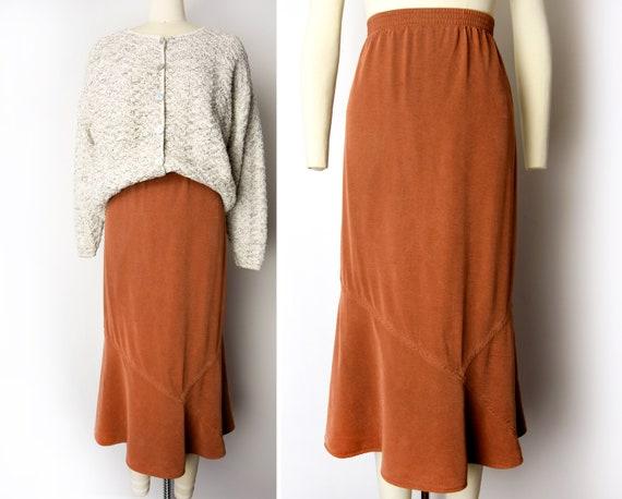 Rust Suede Leather Skirt Vintage Circa 1978 Maxi calf length full length
