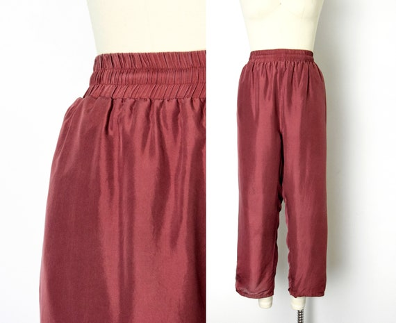 1990s Silk Easy Pants Size Medium Large 90s Lounge