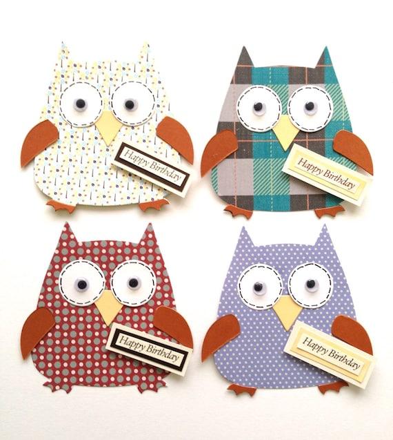 4 Assembled Male Themed Mens Boys Happy Birthday Owl Card Etsy