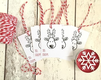 8 Handmade Reindeer Christmas Gift Tags for Presents Gift Wrap/Not Card