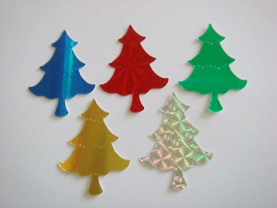 Holographic Christmas Tree.40 Shiny Christmas Tree Die Cuts For Cards Toppers Holographic Card Cardmaking Scrapbooking Craft Projects