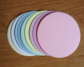 20 Large Pastel Circle oval die cuts for card toppers layering cardmaking
