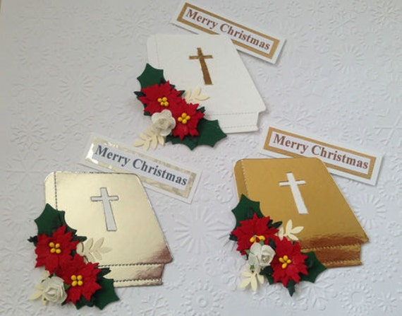 Handmade Religious Christmas Cards.3 Handmade Floral Bible Card Toppers For Christmas Cards Assembled Ready To Use