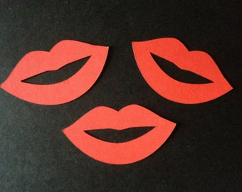 10 Red Lusciious Lips die cuts for valentines/ladies cards/toppers cardmaking scrapbooking