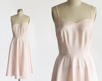 09dc3e5629a9 vintage 1930s slip dress / 30s pink silk taffeta slip dress gown / vintage  slip dress 1940s 1950s 36 38 medium m / fit and flare sweetheart