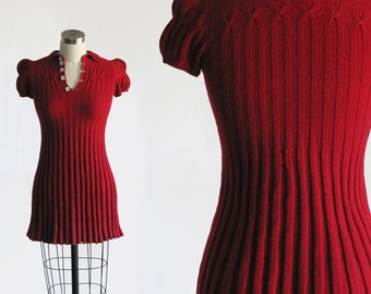 2789e7527d64 vintage 1930s red knit dress xs / 30s 40s cable knit sweater dress / 1940s  casual day dress mini babydoll / petite extra small 30 32 bust