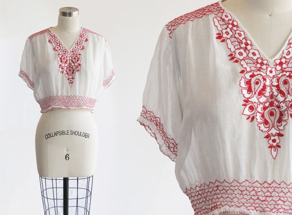 vintage 1930s embroidered Hungarian peasant blouse
