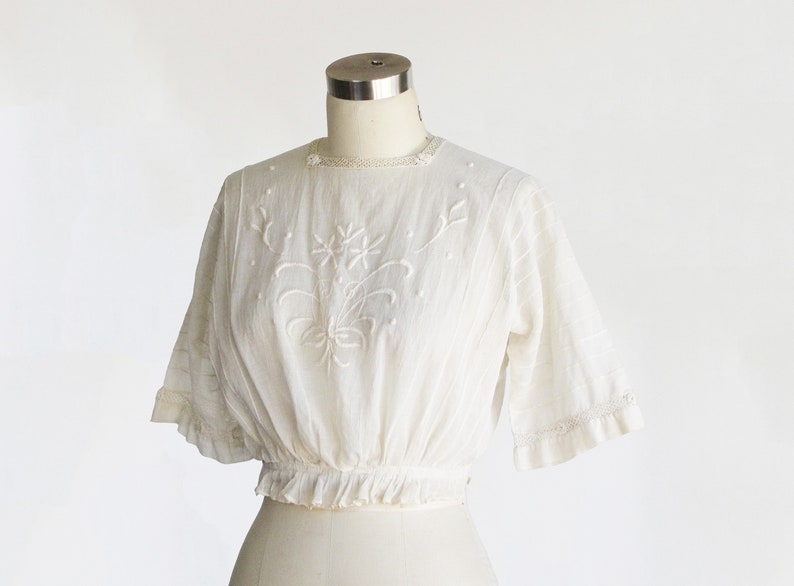 vintage 1910s antique edwardian embroidered blouse  1900s victorian blouse lace sheer ivory cotton  cropped wedding bridal   xs s 32 34