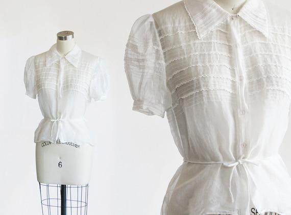 vintage 1930s organdie blouse / 30s sheer white co
