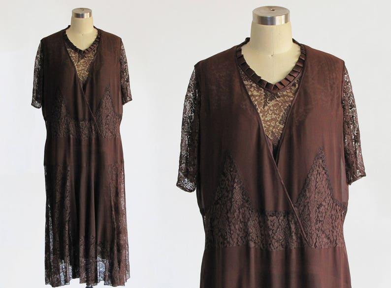 vintage antique 1920s silk chiffon lace satin drop waist dress / 20s brown  cream art deco flapper great gatsby / pierrot greek myth m l xl