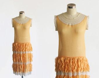 vintage 1920s silk chiffon lace dress / antique 20s art deco flapper sheer drop waist slip / gatsby summer day dress / jazz age wedding xs s