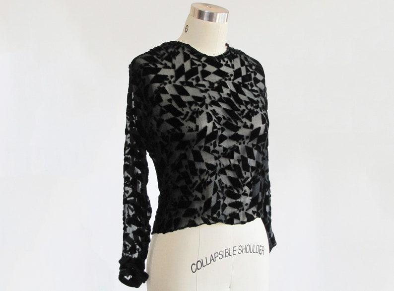 RARE vintage 1920s devore silk velvet blouse  20s avant garde abstract surreal art deco  1930s 30s burnout velvet sheer chiffon blouse