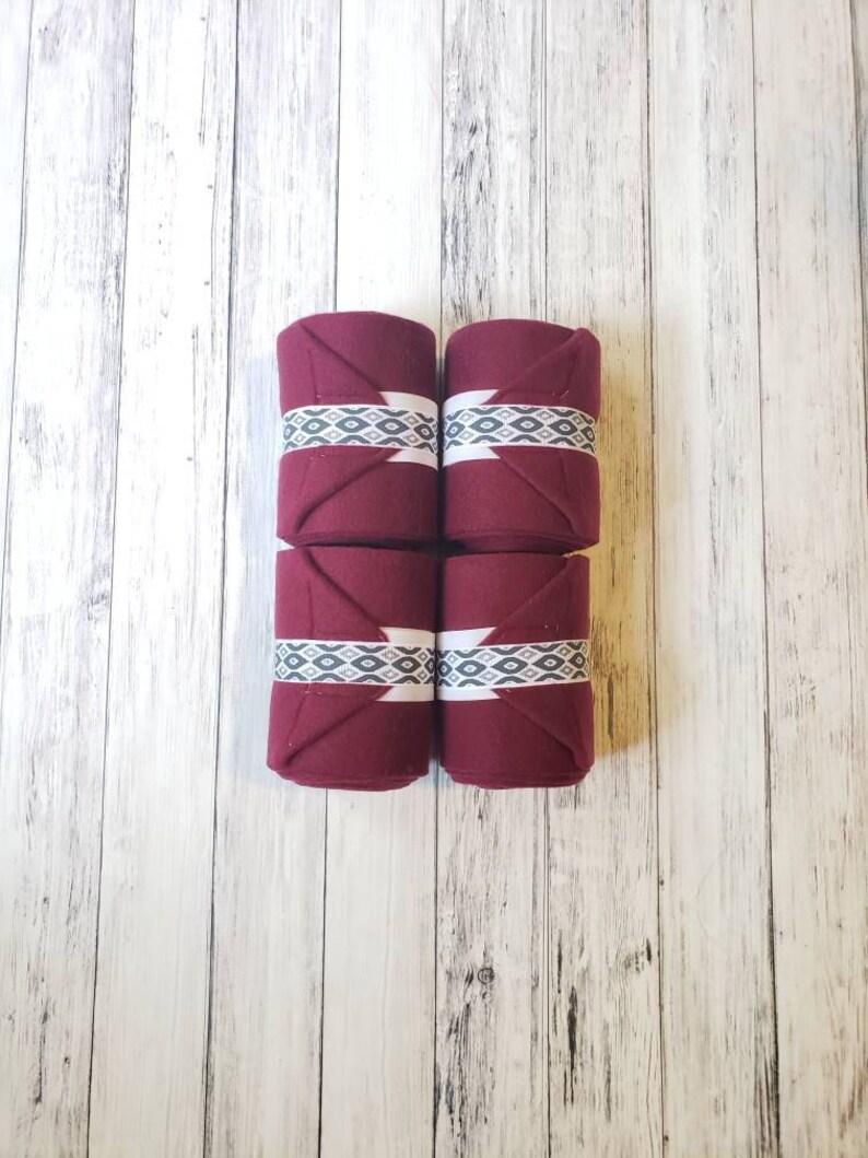 Burgundy Aztec Polo Wraps-Set of 4