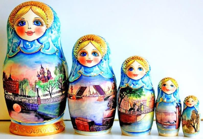 Natale in legno russo nidificazione bambola matrioska Babushka dipinto