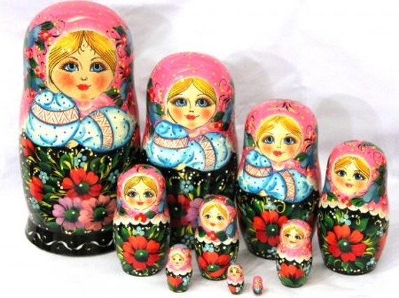 """Nesting doll /""""Slavic patterns/"""" 10 pcs 10 Inches handmade collectible"""