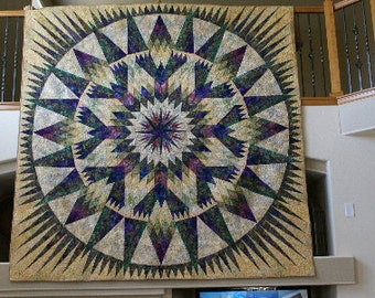 King Size Bed Quilt, Multi Colored, Foundation Pieced, Handmade in CO USA,  Yellow Purple King Size Quilt, Bedspread