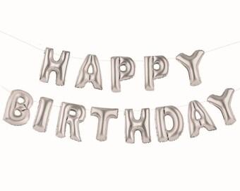 Foil Silver Balloon Giant Happy Birthday Banner 16''