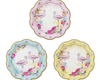 24 charm trendy flamingo party plates.