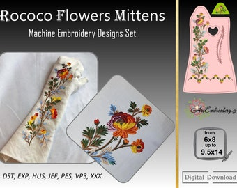 """Rococo Flowers Mittens – Machine Embroidery Historical 18th Century Designs Set from hoop 6x8"""" and up to 9.5x14"""" with mitts pattern."""