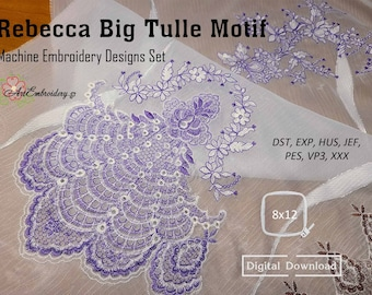 """Rebecca Big Tulle Motif – Machine Embroidery Light Density looks like lace Designs for hoop 8x12"""""""