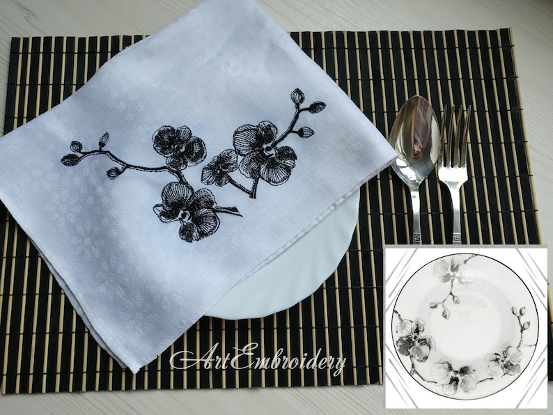 Machine Embroidery Designs Set mix sized for hoop up to 8x8 Black Orchids
