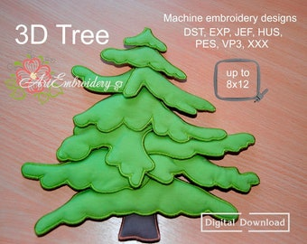 """3D Tree - Machine Embroidery three-dimensional Design of evergreen pine tree In The Hoop up to 8x12"""" Project (ITH)"""