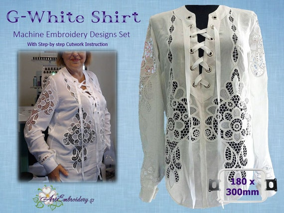 G White Shirt Cutwork Lace Machine Embroidery Designs Set Etsy