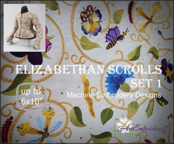 Elizabethan Scrolls Set I Floral And Fauna 16 Century Etsy
