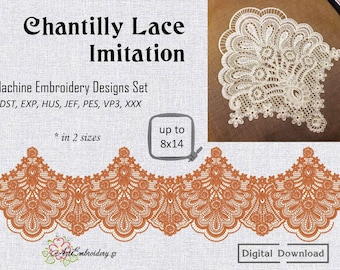 """Chantilly Lace Imitation – Machine Embroidery Designs Set in 2 sizes from hoop 6x8"""" and up to 8x14"""""""