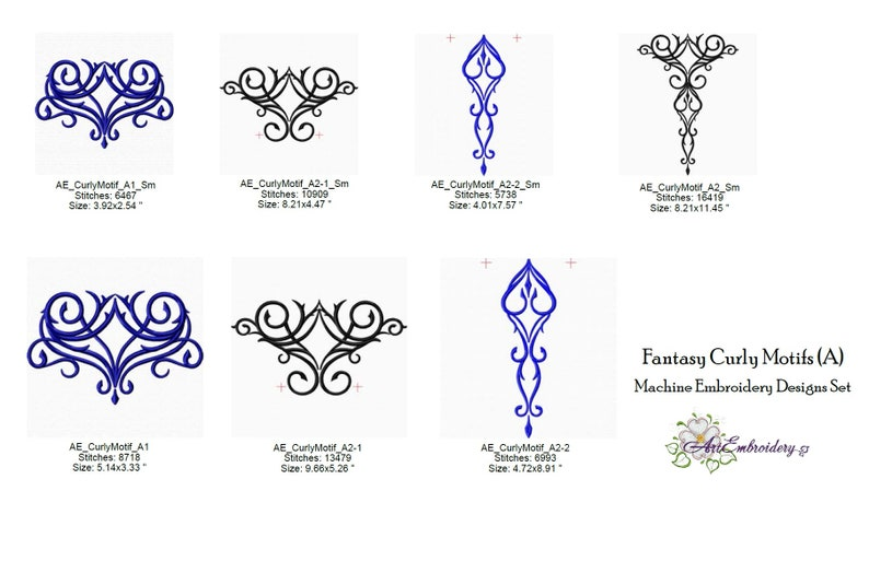 Fantasy Curly Motifs Machine Embroidery Designs Set in Two Versions of Filling for Clothes Embellishment and Other Purposes for Hoop 6x10