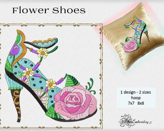 Ladies High Heel Flower Shoes 2 - Machine Embroidery Design in two sizes for the shoe lovers