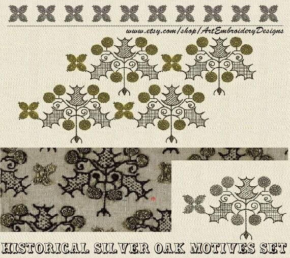 Elizabethan Historical Silver Oak Motives Machine Embroidery Etsy