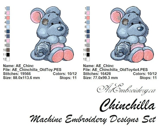 Chinchilla Machine Embroidery Designs Set For A Babies And Etsy
