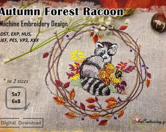 Autumn Forest Racoon - Machine Embroidery Woodland Animal Collection Design in 2 sizes for hoop 5x7 and 6x8
