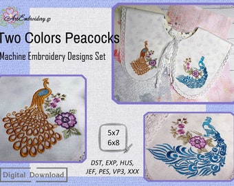 """Two Colors Peacocks - Machine Embroidery Designs Set for hoop 5x7"""" and 6x8"""""""