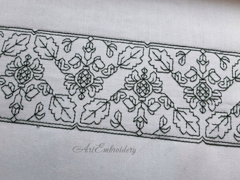 Elizabethan Pomegranate 7 Blackwork  motifs in 1-4 units border   Machine Embroidery Designs Set mixed sizes for hoop up to 6x10
