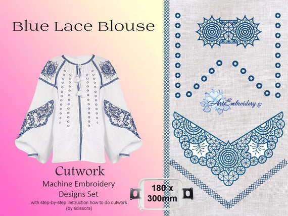 Blue Lace Blouse Cutwork Machine Embroidery Designs Set For Etsy