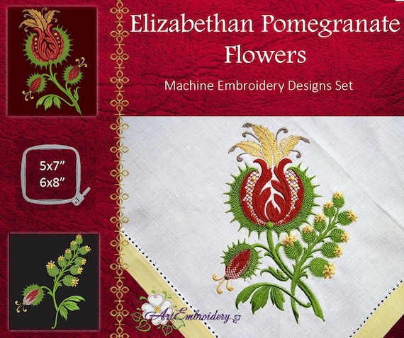 Elizabethan Pomegranate Flowers Machine Embroidery Designs Etsy