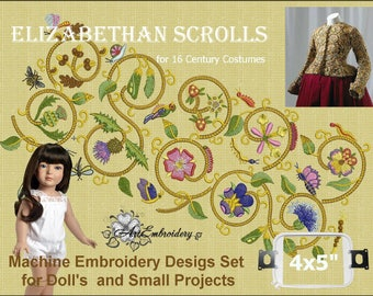 """Elizabethan Scrolls Set III Small - Machine Embroidery Designs Set  for hoop 4x5"""" of the series """"Designs for dolls"""" for Historical Costumes"""
